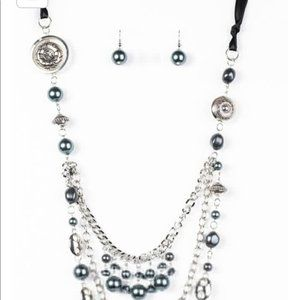 Black gray and silver chain beaded set NEW